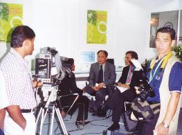 Hwa A. Lim at a TV interview
